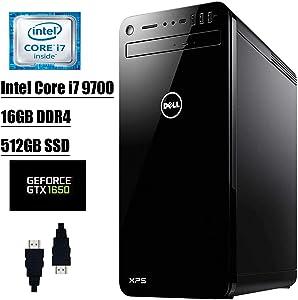 Dell XPS 8930 2020 Premium Desktop Computer I 9th Gen Intel Octa-Core i7-9700 I 16GB DDR4 512GB SSD I Nvidia GeForce GTX1650 4GB USB-C WiFi DVD Bluetooth MaxxAudio Win 10 + Delca HDMI Cable