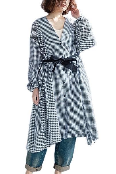 Zilcremo Las Mujeres Ropa De Algodon Blusa Vestido Plaid Cardigan Vestidos Camiseros Plaid One Size: Amazon.es: Ropa y accesorios