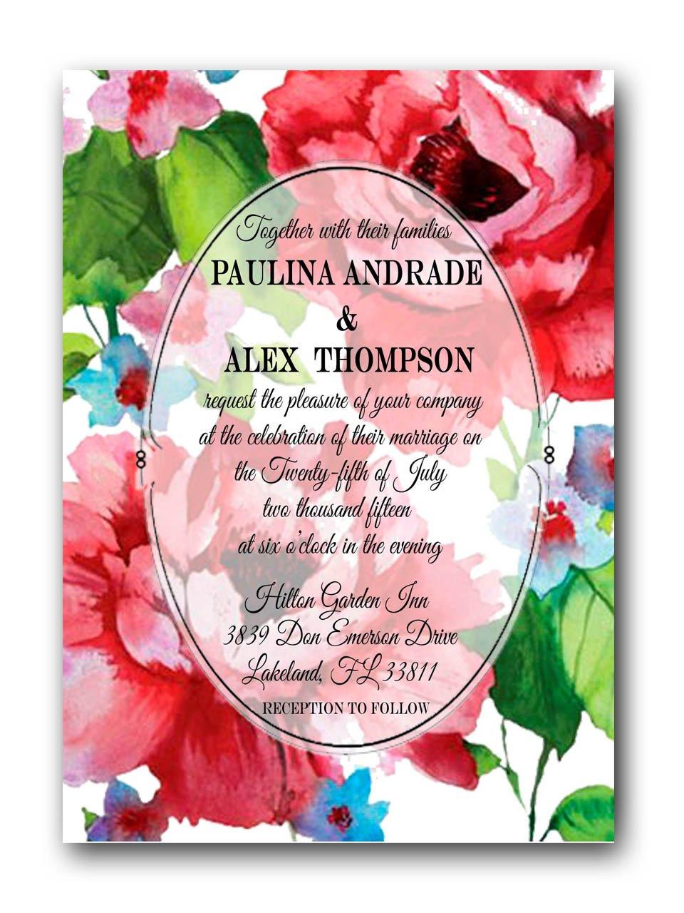 Wedding Bundle Neutral Wedding PRINTED floral Wedding Invitation Minimal Envelopes RSVP Floral Wreath Spring Wedding invitation