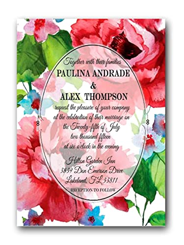 Amazon Com Spring Floral Wedding Invitations With Rsvp Discount