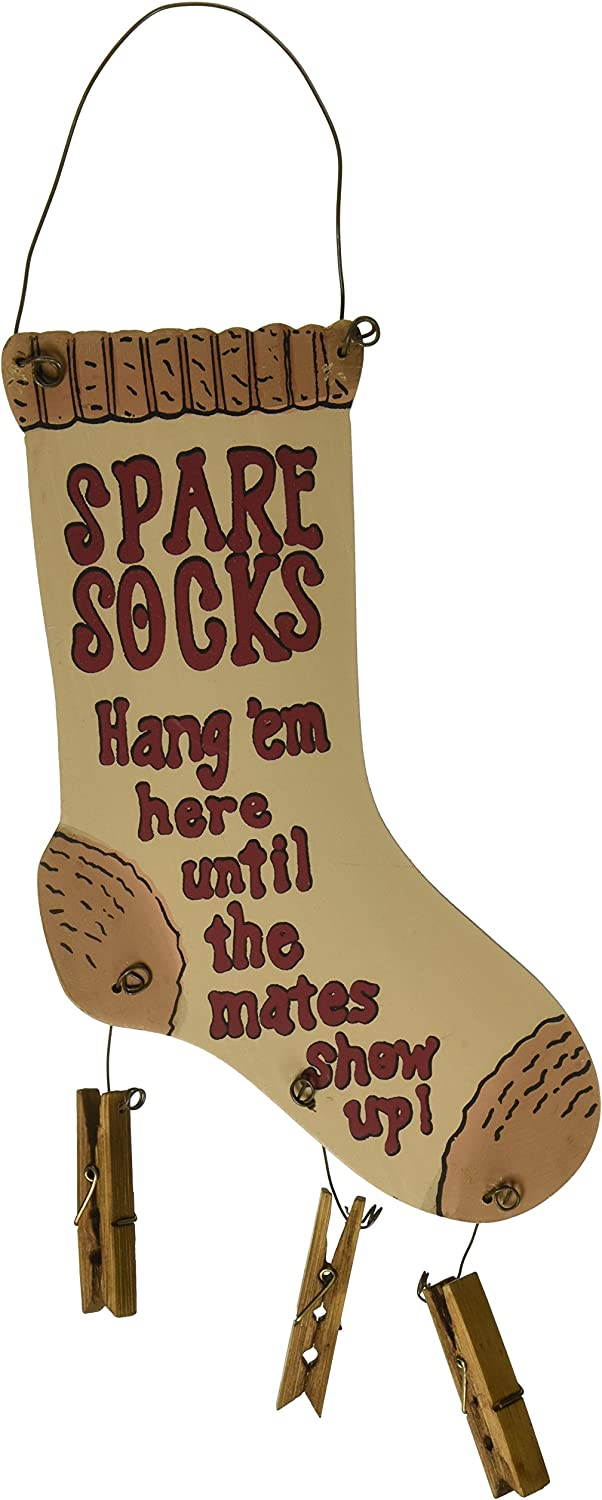 Spare Socks Finder Wood Sign | Rustic Laundry Room Home Decor | 13 x 5.5 Inch