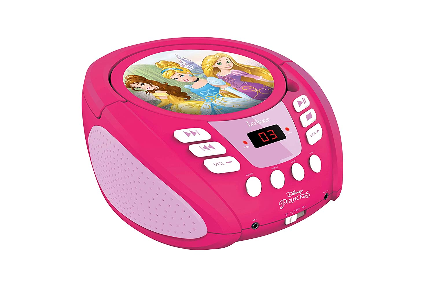Lexibook Disney Princess Radio CD player, aux-in jack, AC or  battery-operated, Pink/White, RCD108DP_10