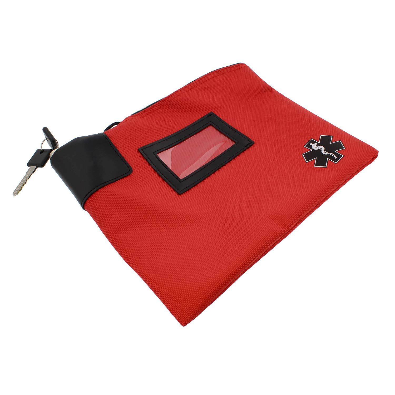 MonMed Locking Storage Box Medicine Box Pill Organizer Travel Medicine Bag with Lock and Key Lock Bag Pouch in Red