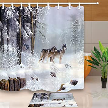 animal decor wolf pack walk in snow covered deep forest cold winter theme shower curtains set