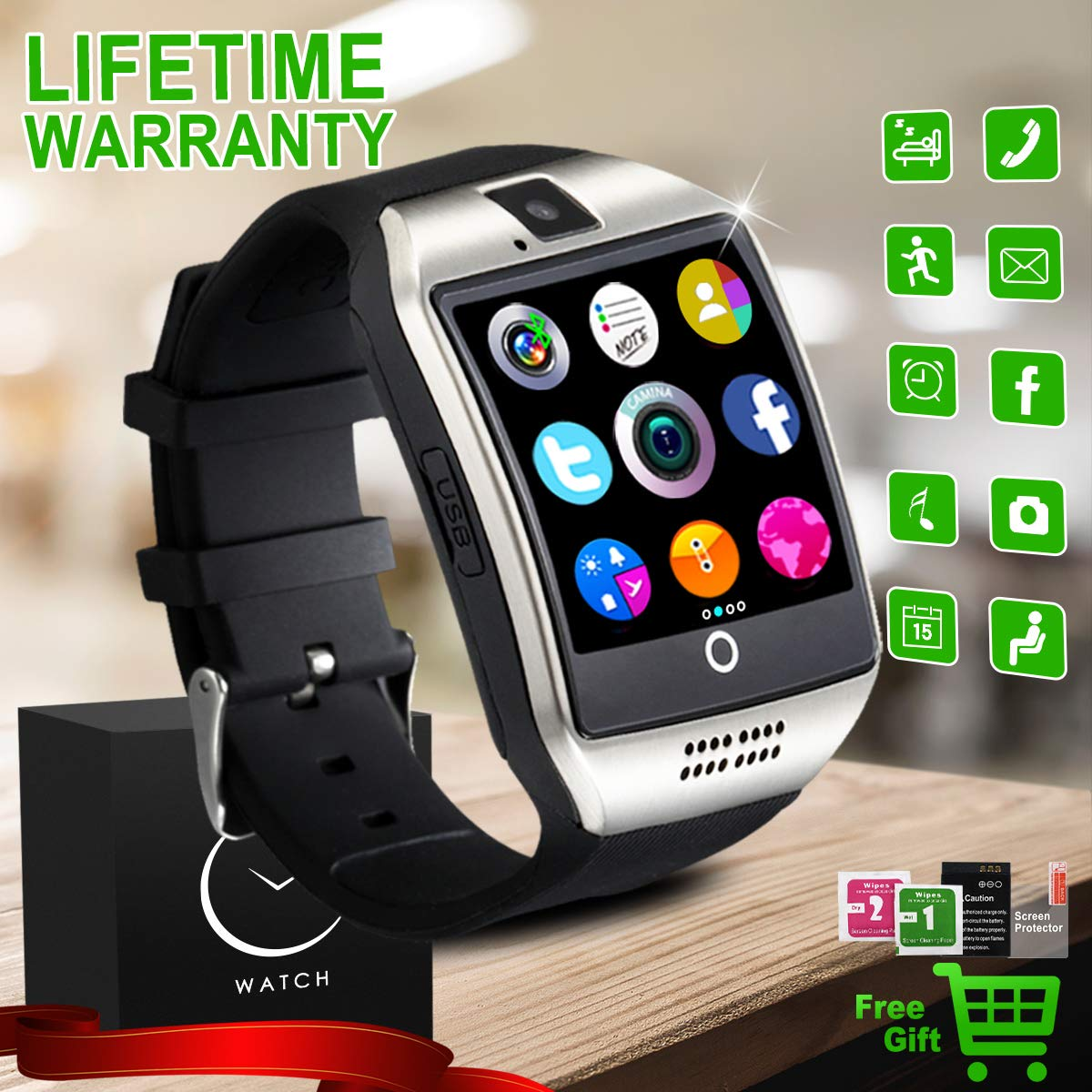 Smartwatch, Bluetooth Smart Watch Android ios Orologio Intelligente con Camera SIM TF Card Slot Facebook WhatsAPP Sport Watch Pedometro Wrist Watch Telefono Watch per Uomo Donna Bambini product image