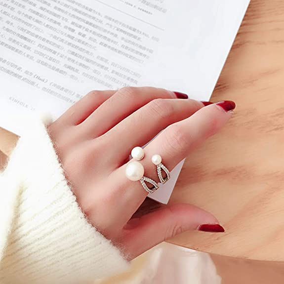 Details about  /Fashion Pearl Ring Natural Freshwater Drop Jewelry 925 Sterling Silver Accessory