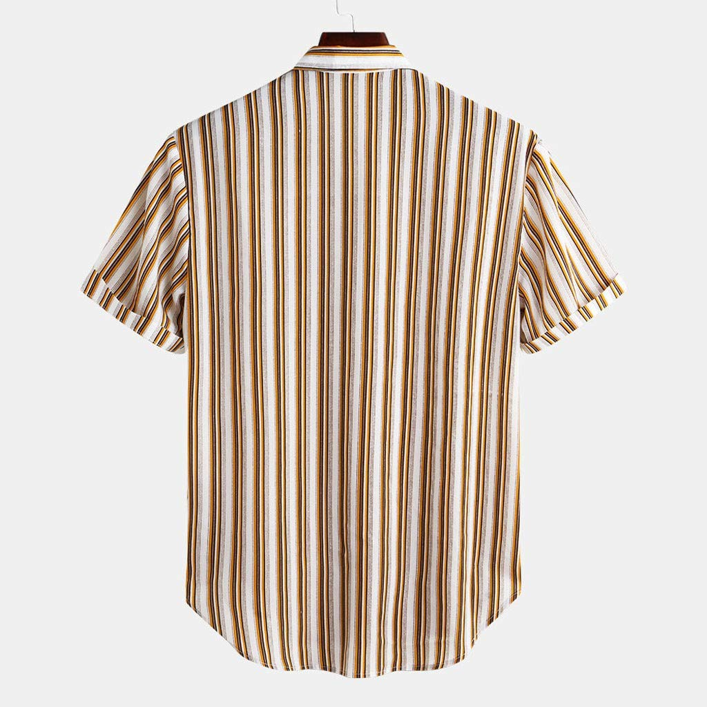 Oyedens Design for Men,Mens Colorful Stripe Summer Short Sleeve Loose Buttons Casual Shirt Blouse