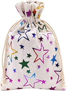SumDirect 20pcs 5x7Inch Color Star Burlap Gift Bags with Drawstring, Jewelry Pouches for Party Wedding Favors Crafts