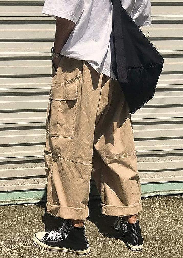 Tralounry Men Japanese Pure Standard-fit Retro Cargo Pants Casual Pants