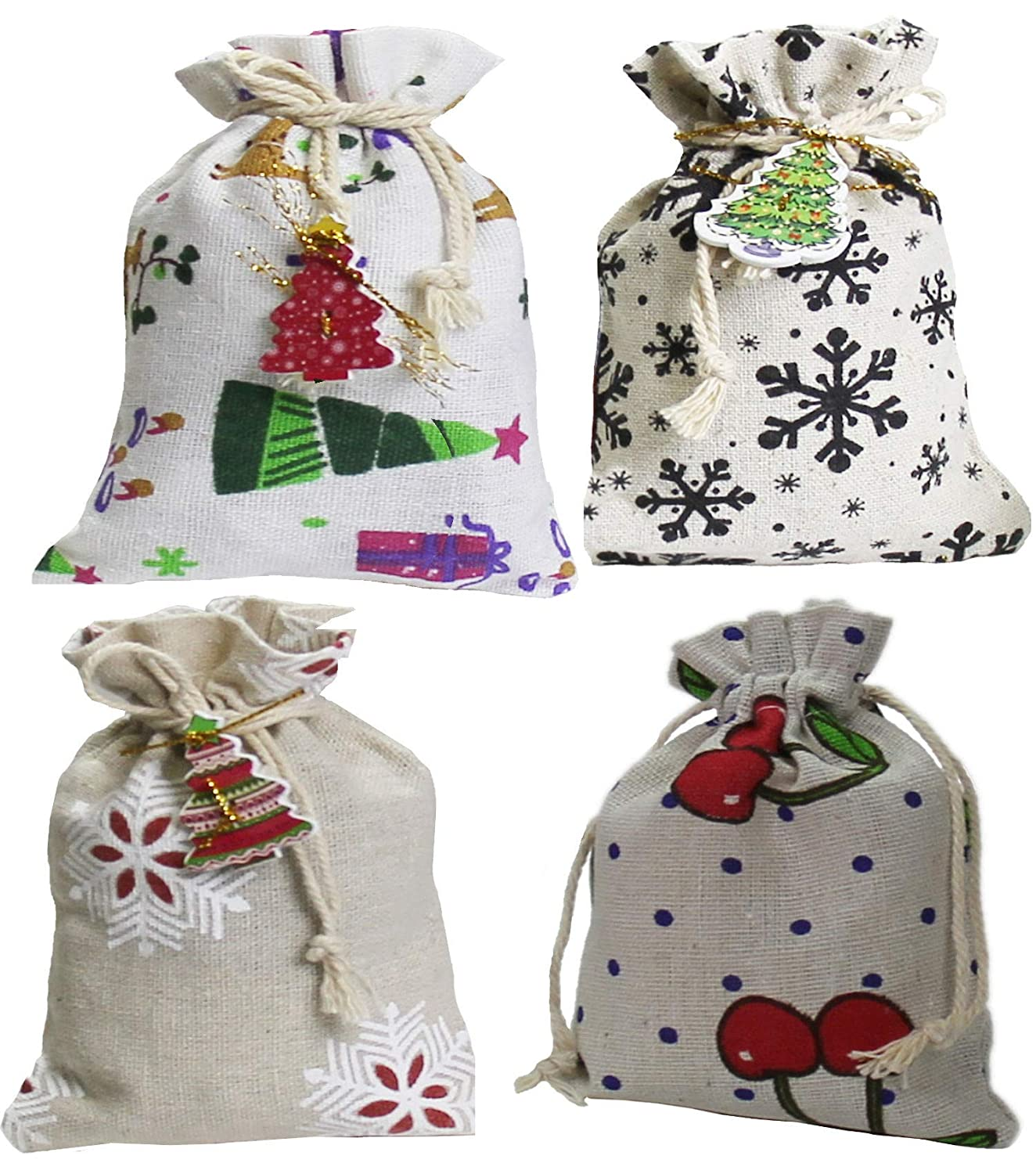 Set of 20 Drawstring Cloth Christmas Treat Bags | Small Burlap Party Favor Pouches | Reusable Candy Bags Cole & Cade