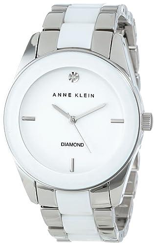 16b0c1d0dc49 Anne Klein AK 1437wtsv Diamante Genuino Reloj de Pulsera Esfera de Color  Blanco Plateado de la Mujer  Amazon.es  Relojes
