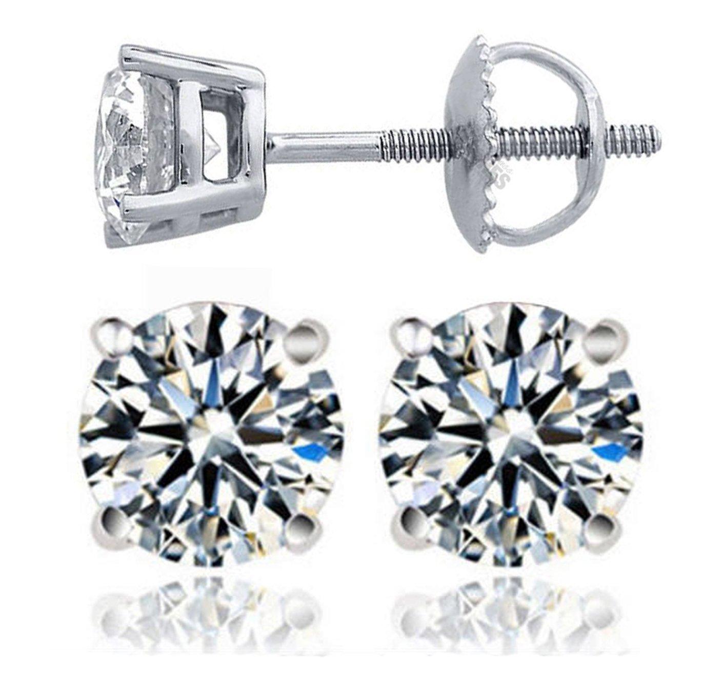 Venetia Realistic Top Grade Hearts & Arrows Cut Simulated Diamond Solitaire Earrings Earstuds Screw Back 925 Silver 0.75 1.5 Carat cz cubic zirconia E6mR