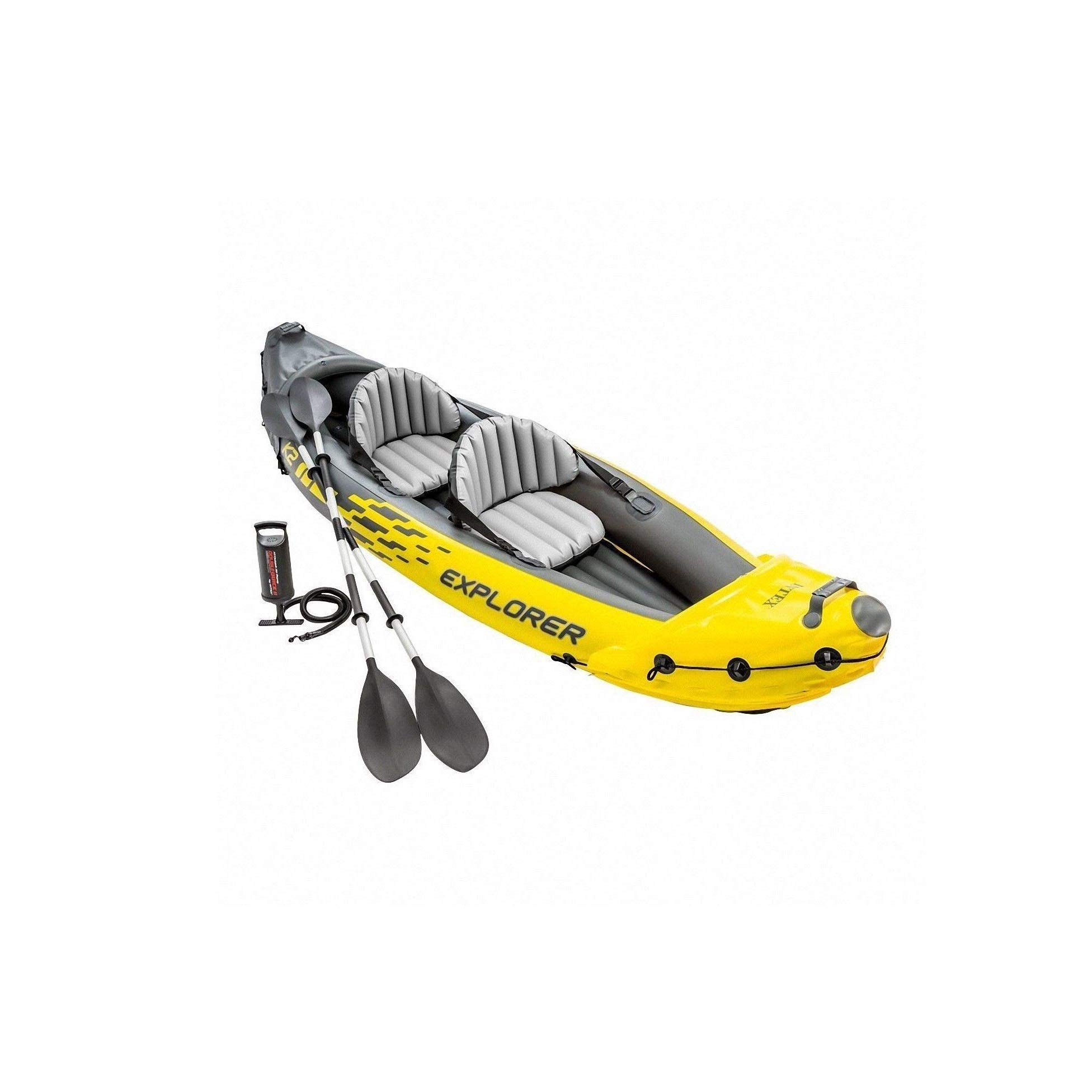 Intex Explorer K2 Yellow 2 Person Inflatable Kayak with Aluminum Oars & Air Pump (Renewed) by Intex