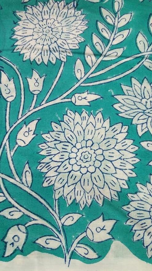HANDICRAFTOFPINKCITY Handicraftofpinkcit - Cortinas de Tela de algodón con Estampado de Flores Blancas y Verdes, Estilo Indio, Estampado a Mano, 5 Metros: Amazon.es: Hogar