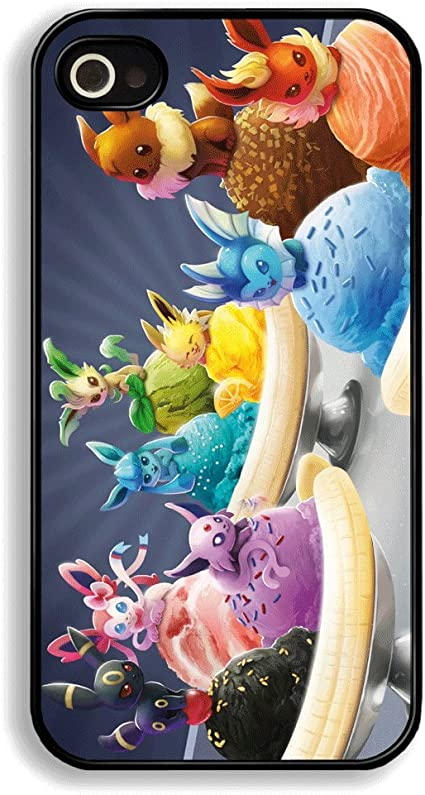 Coque pour iPhone 4 et 4S Banana Split Eeveelution (Noctali, Pyroli, Aquali, Voltali, Givrali, Mentali, Pyllali, Nymphali) évolutions du Pokemon ...