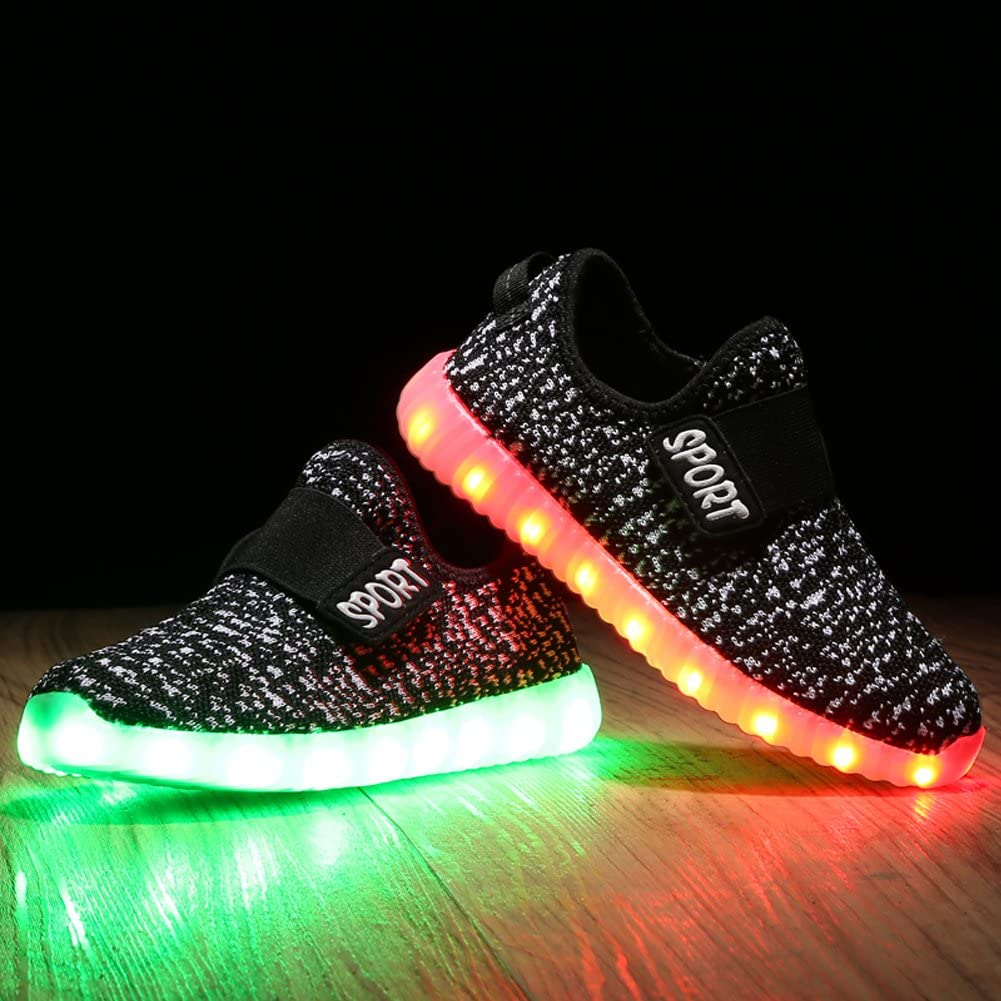 Feicuan Kid Retractable Double Roller Skate Shoes LED Flashing Sneaker