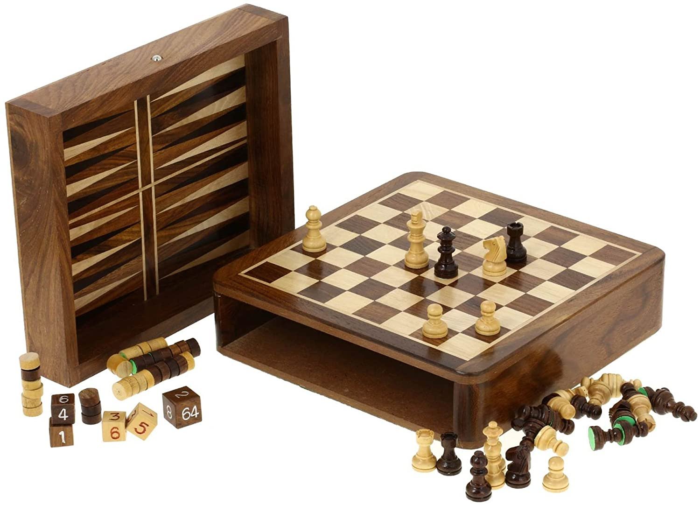 BackgammonsetSchachfigurenHolzWürfelzweiineinemBrettspiel