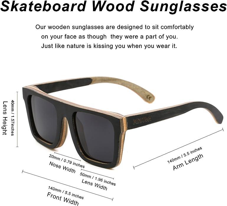 4726603e1c Men Skateboard Wood Sunglasses Polarized Glasses for Women Glasses with  Case SW150