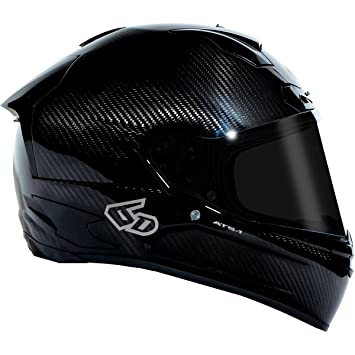 6d carbono Mens ats-1 calle casco de moto, color negro