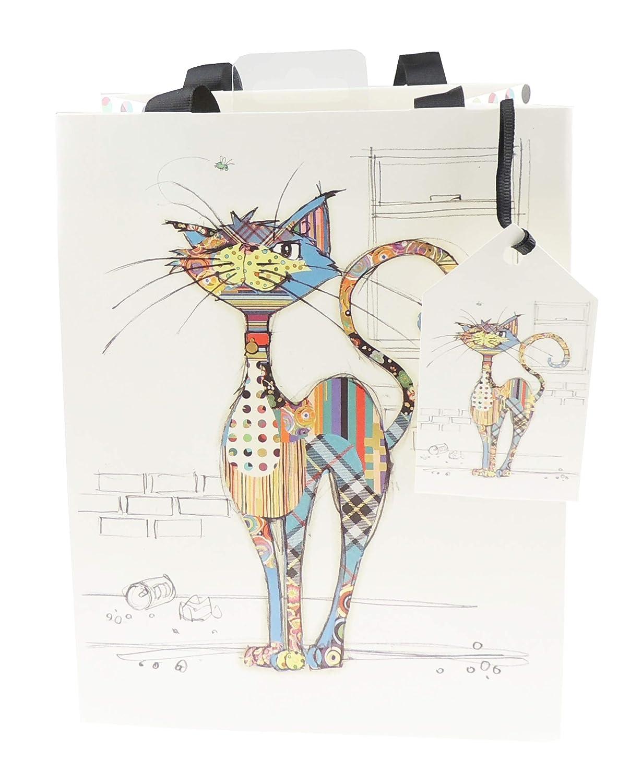 Petit sac cadeau danniversaire color/é avec motif chat et chaton color/é Beige