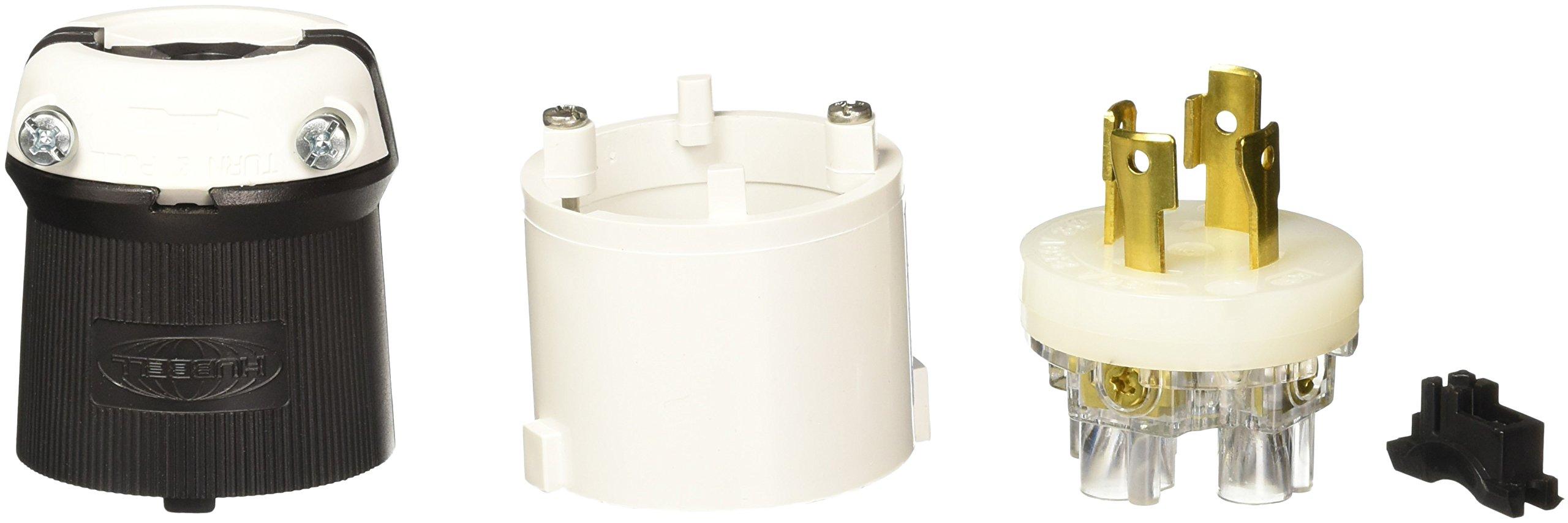 Hubbell HBL2721S Locking Safety Shroud Plug, 30 amp, 3 Phase, 250V, L15-30P