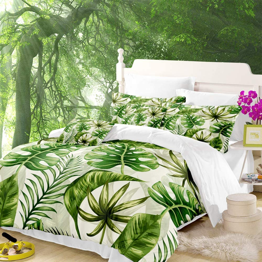 ARL HOME Tropical Large-scale sale Bedding Rainforest Size Queen Gree Lowest price challenge Duvet Cover