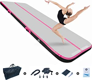 BEYOND MARINA Air Gymnastics Tumble Track for Gymnastics 4/8 inches Thickness Inflatable Tumbling Mats 10ft/13ft/16ft/20ft Training Mats for Home Use/Cheerleading/Yoga/Water with Electric Pump
