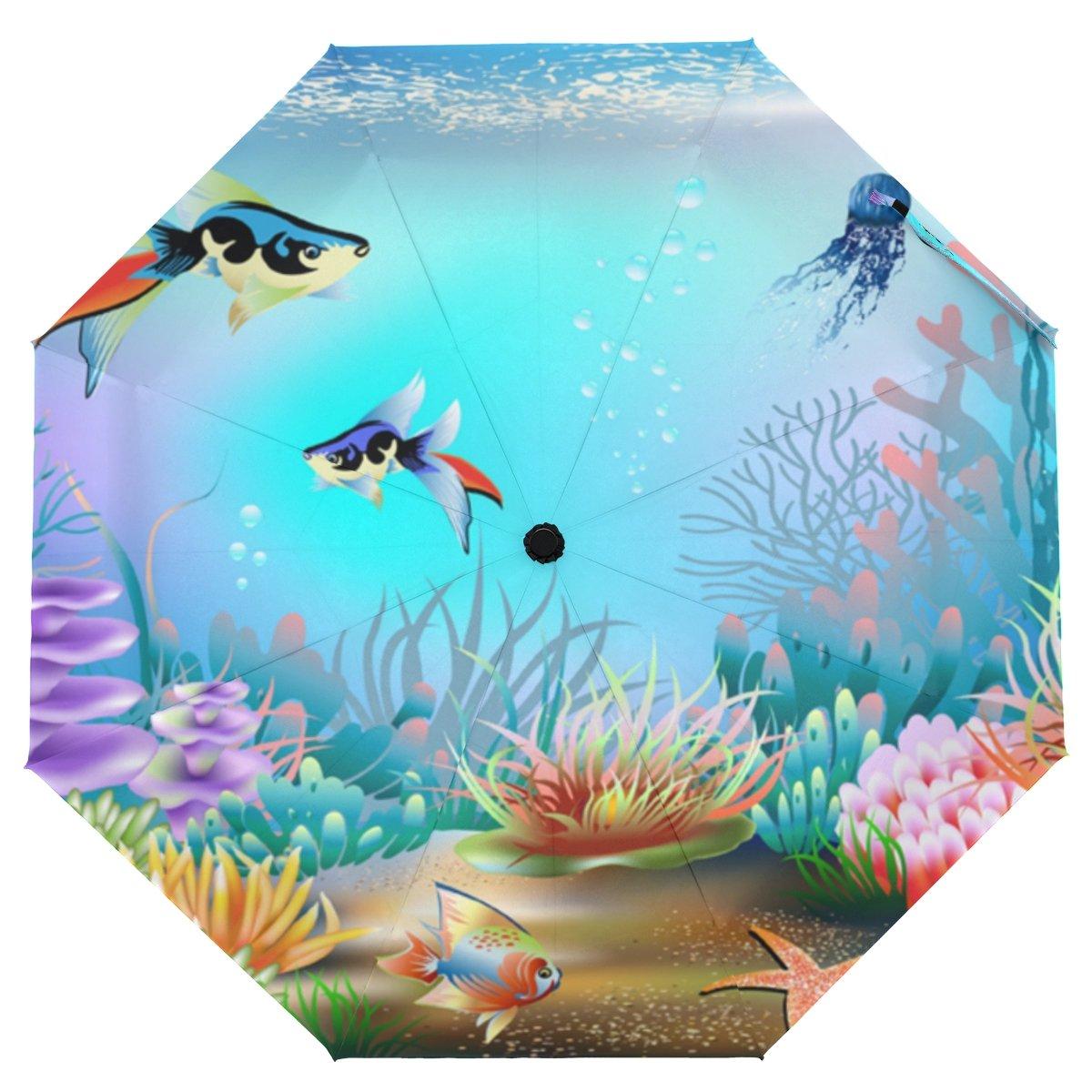 クーパーGirl Underwater Fishes傘太陽雨旅行の傘UV保護キッズガールズボーイズ   B07FXPH6S3