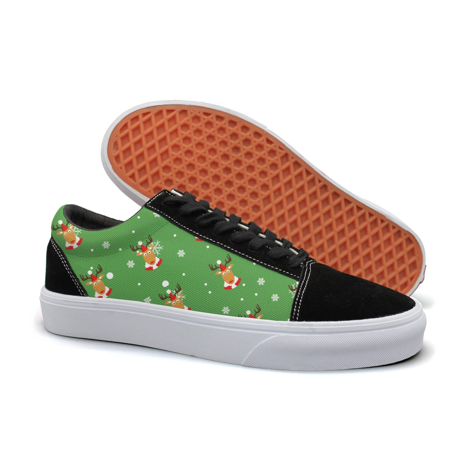 KKLDFD Christmas Moose And Snowflake Icons 2018 Online Mens Customize Shoes