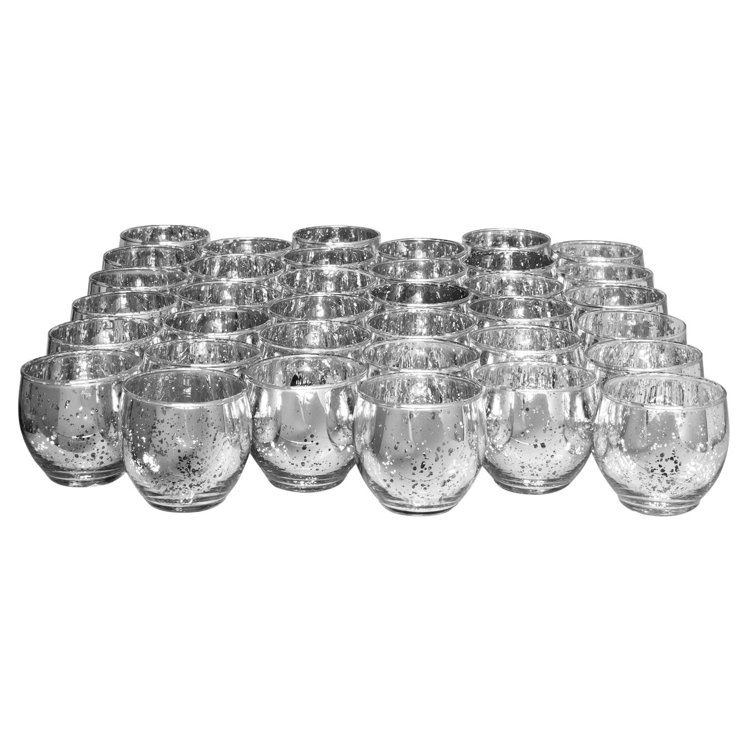 Candle Holder Glass Votive for Wedding, Birthday, Holiday & Home Decoration by Royal Imports, Speckled Mercury Metallic Silver, Roly Poly Set of 36 - unfilled