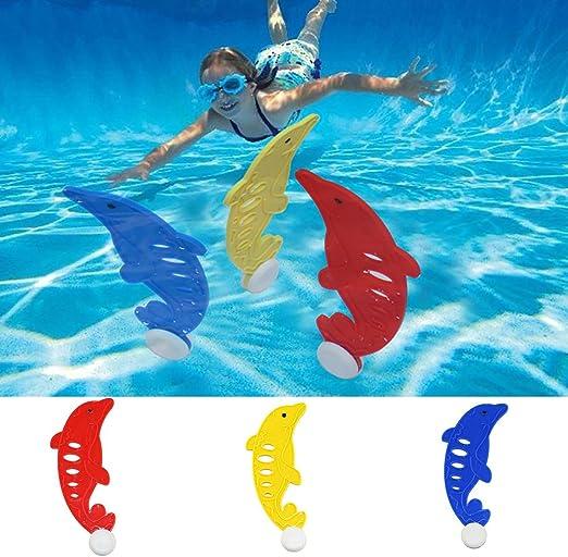 Guoainn Unique 3Pcs Children Swimming Pool Dive Grab Toy Dolphin Shape Kids Training Accessory