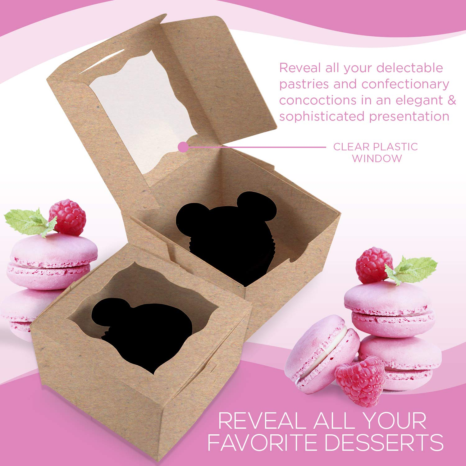 [50Pack] Bakery and Wedding Favor Boxes with Window 4x4x2.5'' - Gift Boxes for Cookies, Cake, Pastries, Donuts, Cupcakes, Candy & Baked Good Treats | Small Dessert Packaging Party Containers by FreshLi (Image #4)