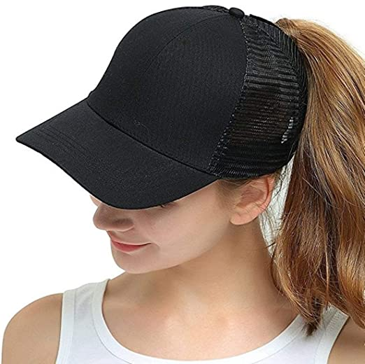 OUO Ponytail Hat Womens Ponycaps Messy High Bun Cute Cool Style Mesh  Baseball Hat Ponytail Caps ae75893fc5d