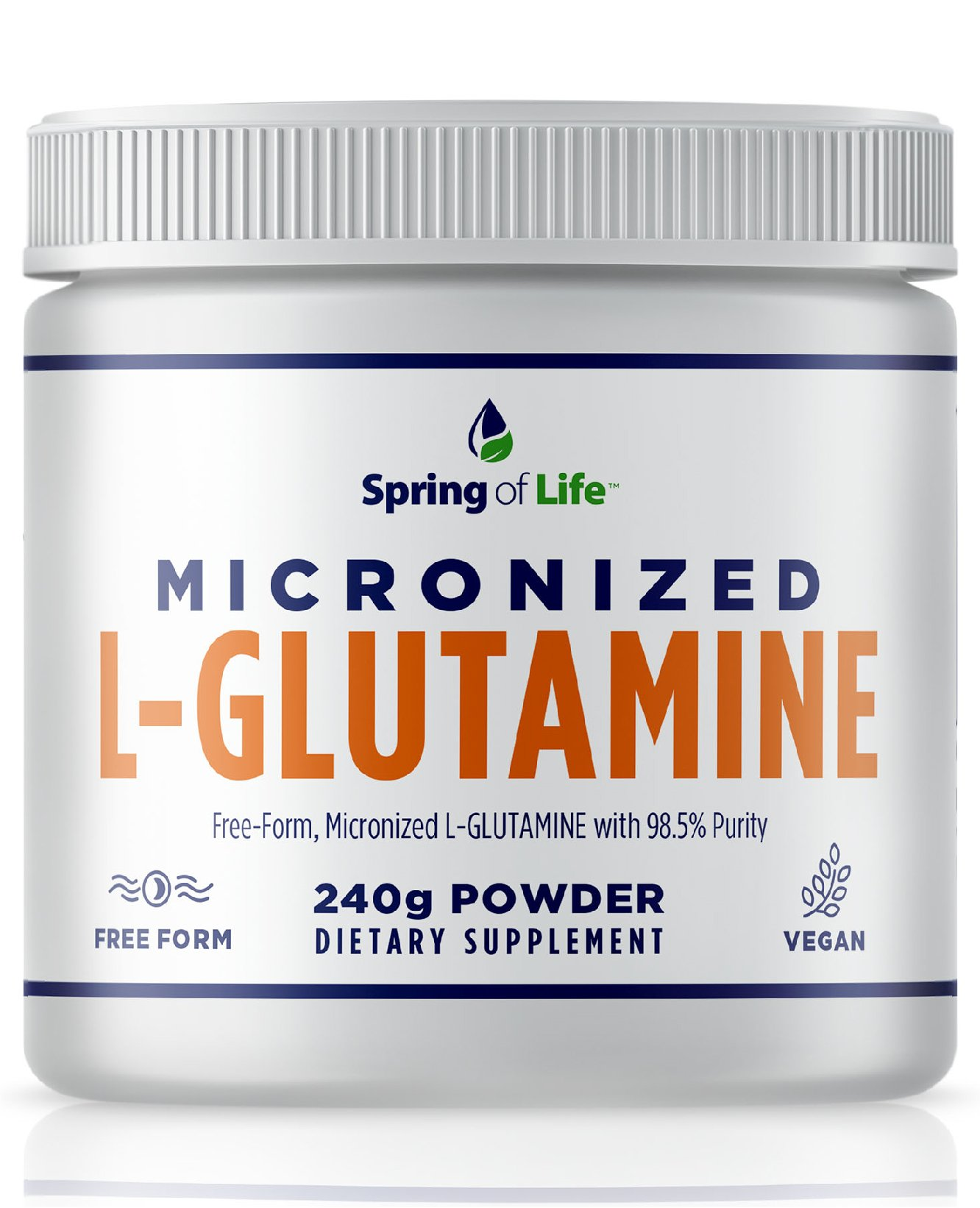 Spring of Life Micronized L-Glutamine, Free-Form 98.5% Purity, Gluten Free, micronized for Maximum Absorption, 240 Grams