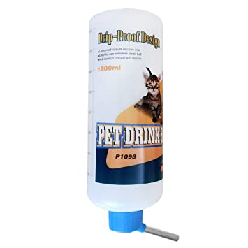 SatisPet Conejo automático sin goteo botella de agua 1800 ml – pequeño animal dispensador de agua sin fugas – a prueba de fugas roedor mascota ...