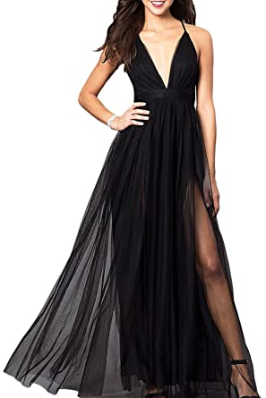Promworld Womens Sexy V-Neck High Split Prom Dress Long Evening Gowns Black US2