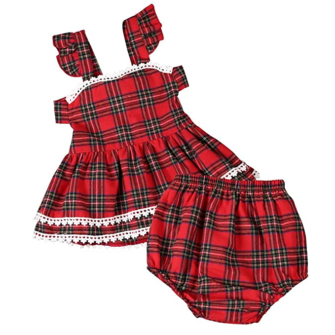 Little Girl Summer Dress Bloomer Panties PP Pants Brightup Baby Plaid Clothes Set Girl Red Lattice Dress