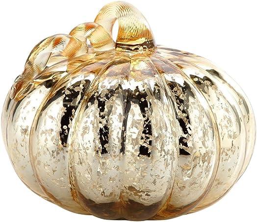 New 9 Hand Blown Mercury Glass Murano Art Style Gold Pumpkin Sculpture Fall