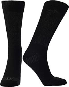 Doctor's Choice Men's Diabetic & Neuropathy Crew Socks, Non-Binding Cushion Crew Sock with Aloe, Antimicrobial, Ventilation, and Seamless Toe, 2-Pairs, Black, Mens X-Large: Sock Size 13-15