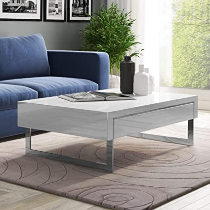 Tiffany Evoque White High Gloss Coffee Table With Storage Drawers