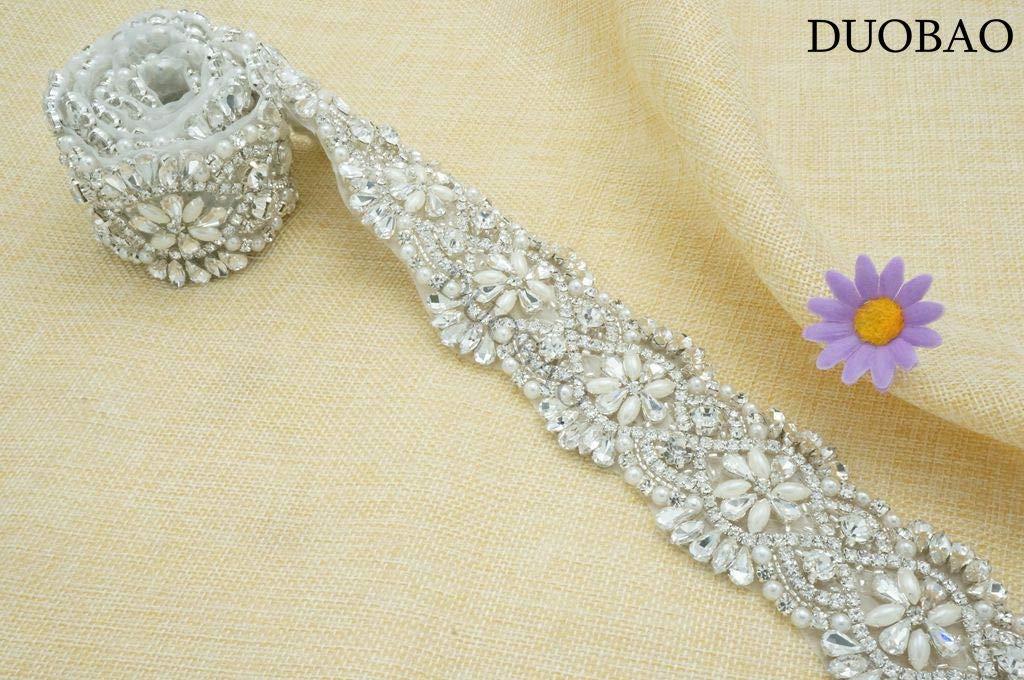 Rhinestone-Sash-Belt Gold Wedding Dress Belt Bridal Belt Sash Iron On Appliques Bridal Rhinestone Dress Applique Wedding Sash by DUOBAO