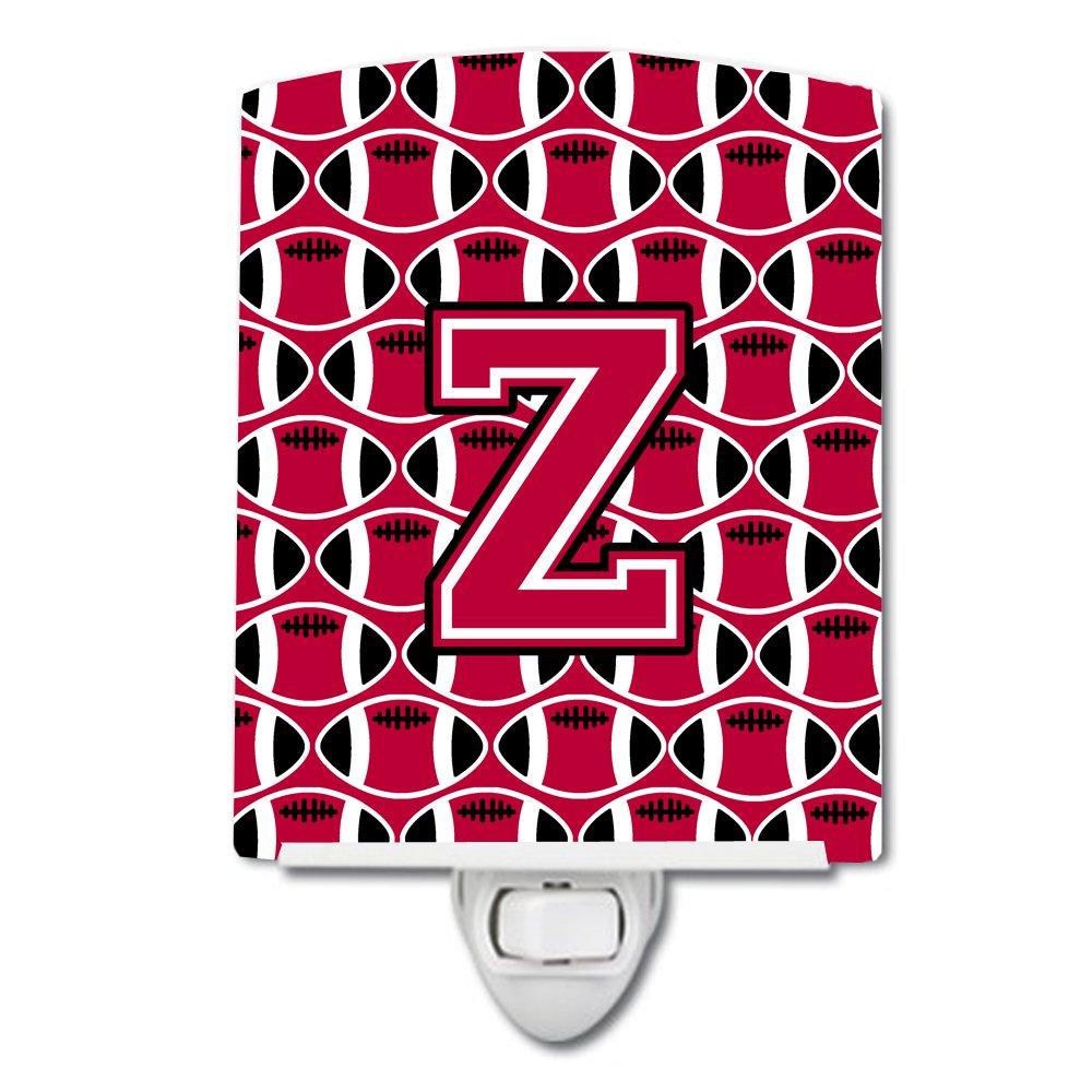 Carolines Treasures Letter Z Football Crimson and White Ceramic Night Light 6x4 Multicolor