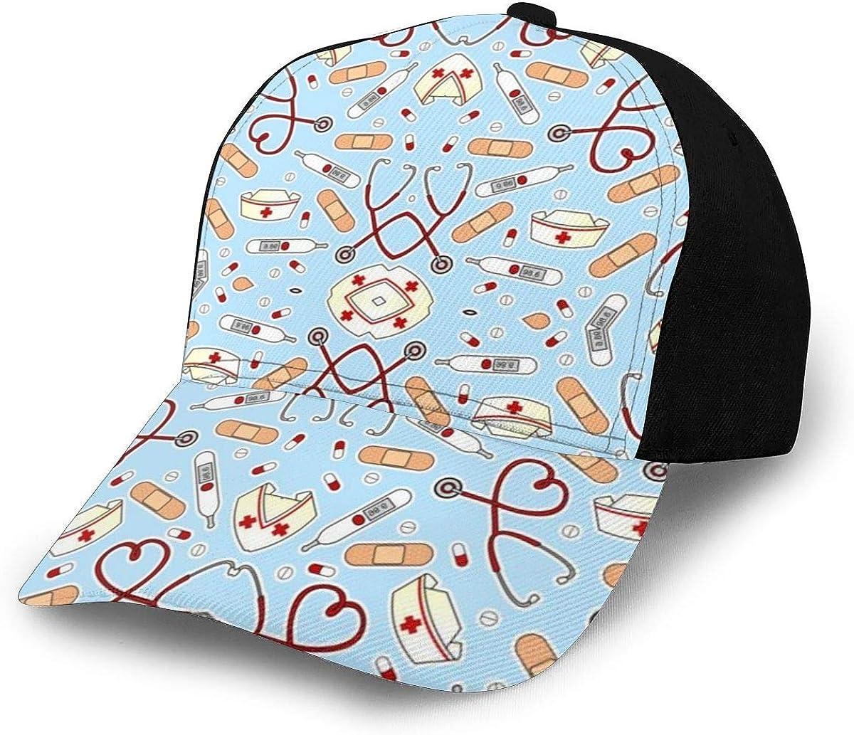Cute Doctor Nurse Loves Blue Classic Baseball Cap Men Women Dad Hat Twill Adjustable Size