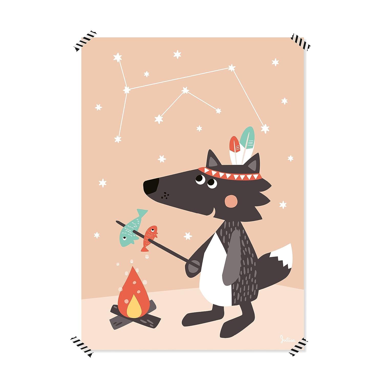 Julica Design Poster Kinderzimmer | Sterne Nachtleuchtend | Kleiner Wolf | Wand-Bild | Wand-Deko für Kinder und Baby-Zimmer | Größe 50 X 70 JulicaDesign