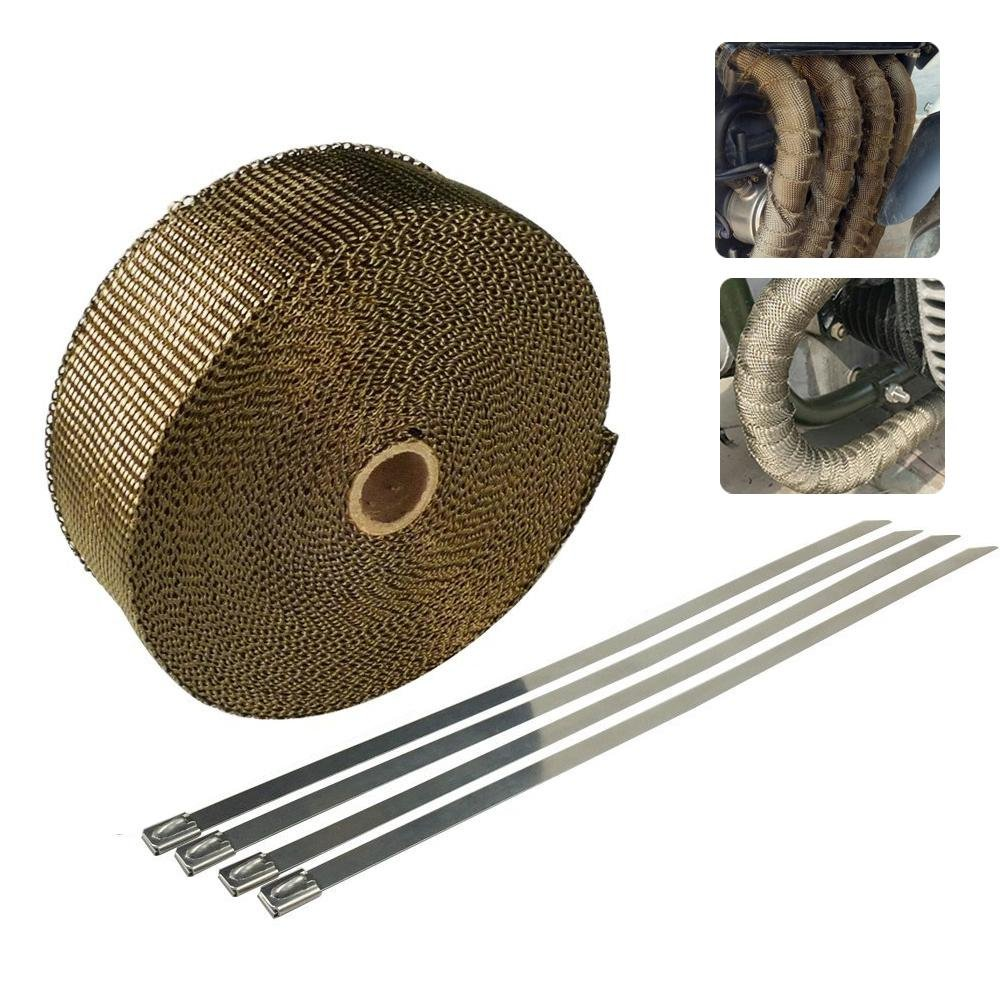KOBWA 5 Meters Titanium Exhaust Heat Wrap for Motorcycle Fiberglass Heat Shield Tape, Heat Shield Insulation with Ties for Pipe Titanium Motorcycle Exhaust Tape Thermal Protection.