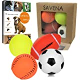 Savena Squeaky Dog Ball -New Upgrade Made by Non-Toxic Odorless Environmental Material No-Stuffing Toy Bite Resistant, Dog Raising EBook Included