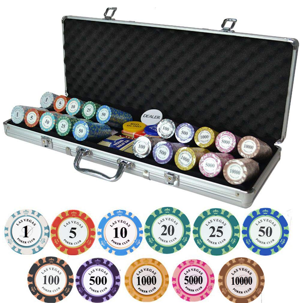 HenMerry Clay Poker Chip Set,14-Gram Heavyweight Poker Chip Coin with Aluminum Box,Optional Denomination Club Poker Chips for Casino Chess Room Entertainment City Tourism Party (500PCS Aluminum Box)