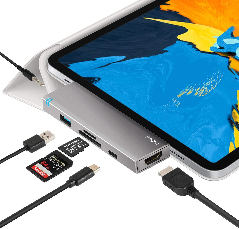 Amazon.com: USB C Hub for iPad Pro 2018, IKEDON 6-in-1 USB C Hub ...