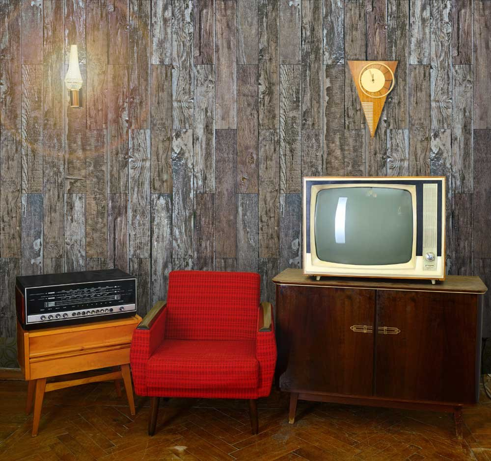 Vertical Brown Rusty and Retro Wood Textured Paneling Wall Mural