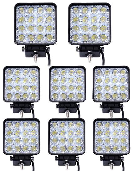 Leetop de 8 Luces de Trabajo LED, Luces Traseras Para Tractor, 3800 lm 6000